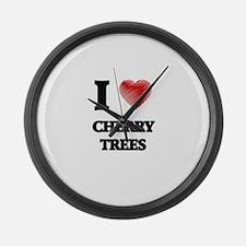 I love Cherry Trees Large Wall Clock