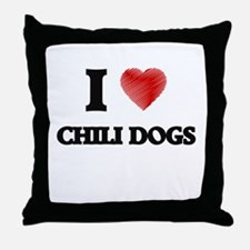 I love Chili Dogs Throw Pillow