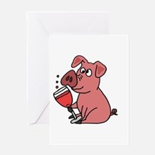 Pig Drinking Wine Greeting Cards