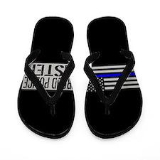 Police: Proud Sister (Black Flag Blue L Flip Flops