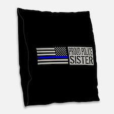 Police: Proud Sister (Black Fl Burlap Throw Pillow
