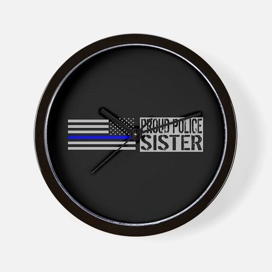 Police: Proud Sister (Black Flag Blue L Wall Clock