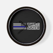 Police: Proud Sister (Black Flag & Blue Wall Clock