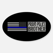 Police: Proud Brother (Black Flag B Sticker (Oval)