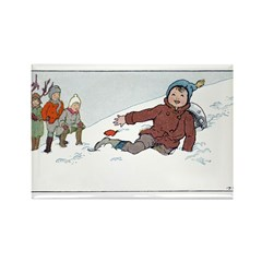 1930's Snow Fun #3 Rectangle Magnet (10 pack)