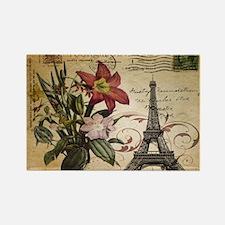 vintage lily paris eiffel tower p Magnets