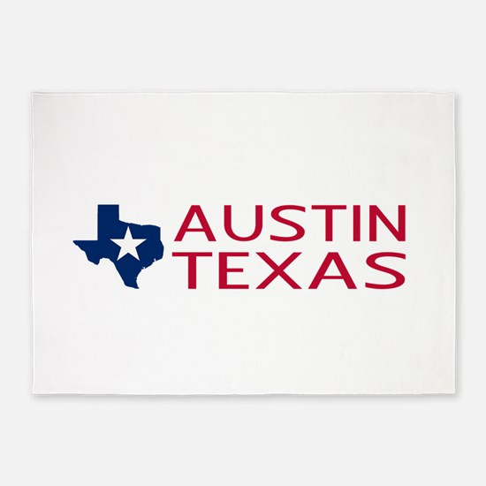 Texas: Austin (State Shape & Star) 5'x7'Area Rug