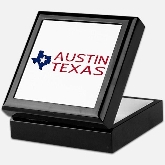 Texas: Austin (State Shape & Star) Keepsake Box