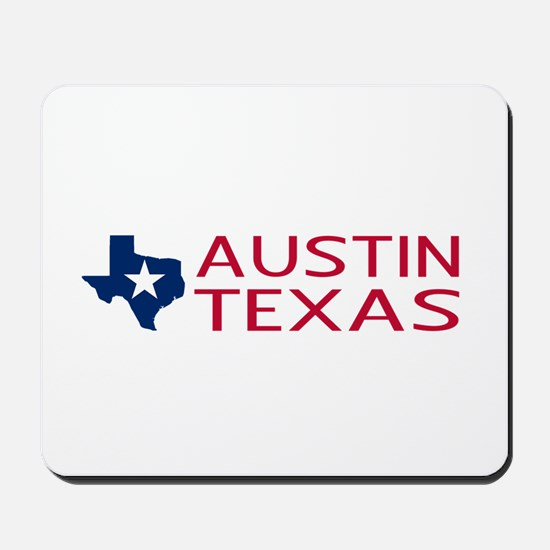 Texas: Austin (State Shape & Star) Mousepad