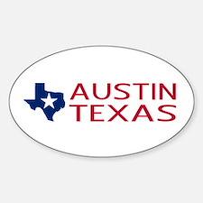 Texas: Austin (State Shape & Star) Sticker (Oval)
