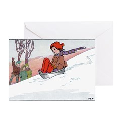 1930's Snow Fun #4 Greeting Cards (Pk of 10)