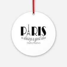 Audrey Hepburn Paris Quote Black Round Ornament