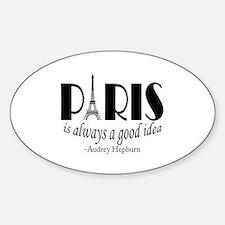 Audrey Hepburn Paris Quote Black Decal