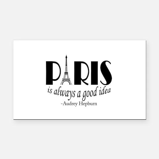 Audrey Hepburn Paris Quote Black Rectangle Car Mag