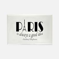 Audrey Hepburn Paris Quote Black Magnets