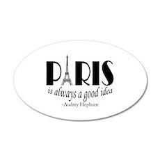 Audrey Hepburn Paris Quote Black Wall Decal