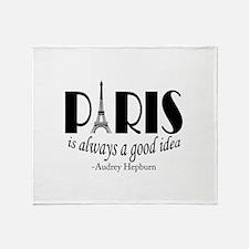 Audrey Hepburn Paris Quote Black Throw Blanket