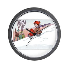 1930's Snow Fun #4 Wall Clock