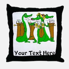 Alligators At Bar (Custom) Throw Pillow
