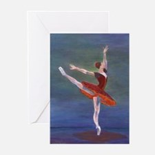 Red Ballelrina Greeting Cards