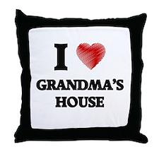I love Grandma'S House Throw Pillow