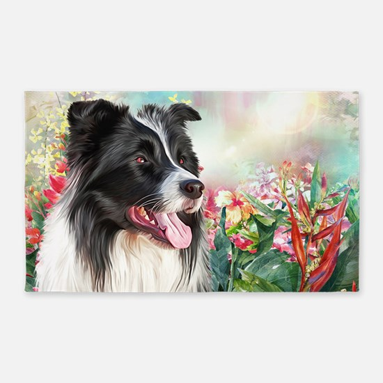 Border Collie Painting Area Rug