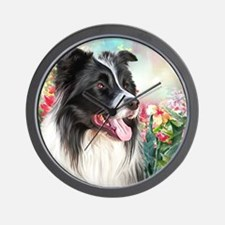 Border Collie Painting Wall Clock