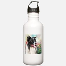 Border Collie Painting Water Bottle