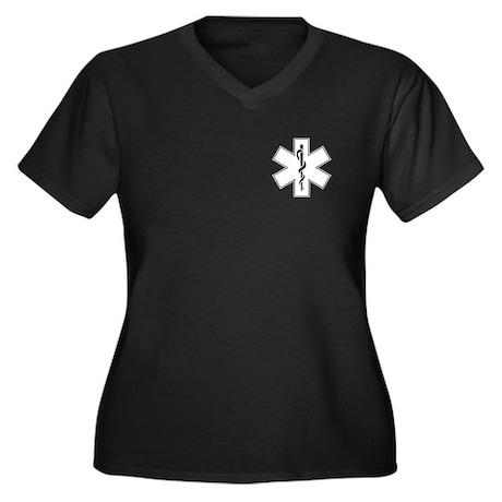 Star of Life Women's Plus Size V-Neck Dark T-Shirt