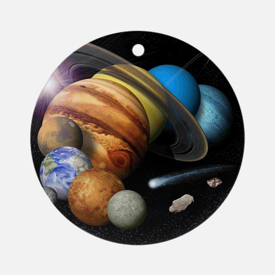 Solar System Montage Round Ornament