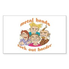 Metal Heads Rock Out Harder Rectangle Decal