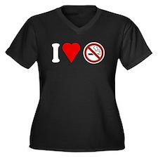 I Love No Smoking Women's Plus Size V-Neck Dark T-