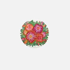 Orange Fantasy Flowers Mini Button (10 pack)