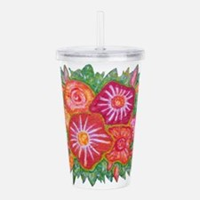 Orange Fantasy Flowers Acrylic Double-wall Tumbler