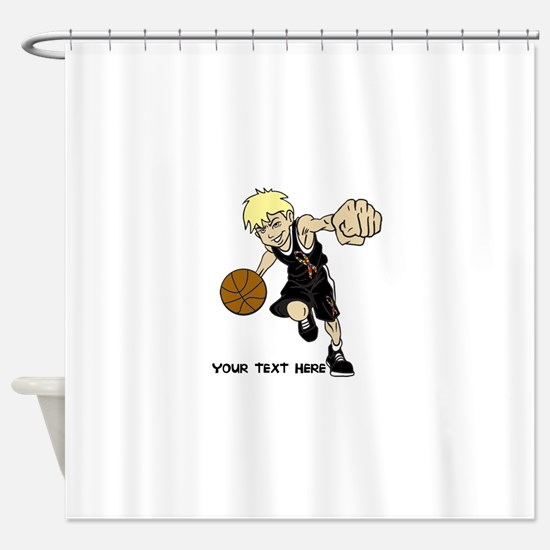 PERSONALIZED BASKET BOY AUTISM RIBB Shower Curtain