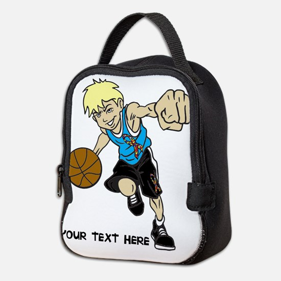 PERSONALIZED BASKET BOY AUTISM Neoprene Lunch Bag