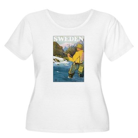 Vintage Sweden Fishing Women's Plus Size Scoop Nec