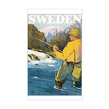 Vintage Sweden Fishing Rectangle Decal