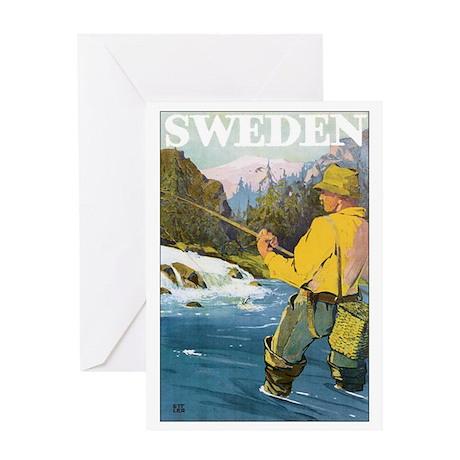 Vintage Sweden Fishing Greeting Card