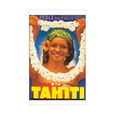 Vintage Tahiti Girl Rectangle Decal