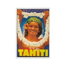 Vintage Tahiti Girl Rectangle Magnet