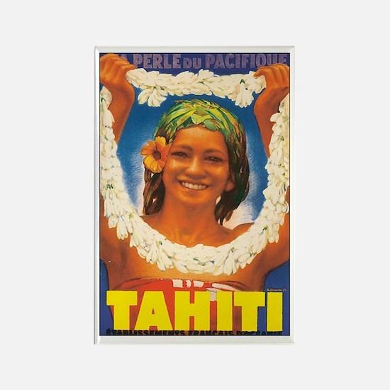 Vintage Tahiti Girl Rectangle Magnet