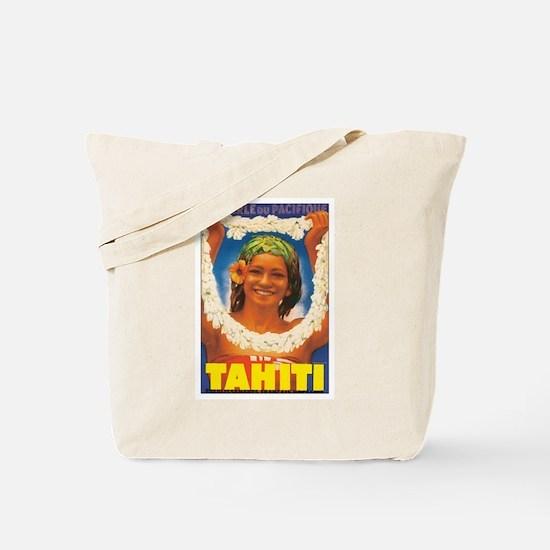 Vintage Tahiti Girl Tote Bag