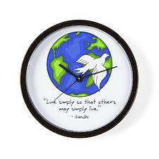 World Gandhi - Live Simply Wall Clock