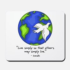 World Gandhi - Live Simply Mousepad