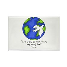 World Gandhi - Live Simply Rectangle Magnet