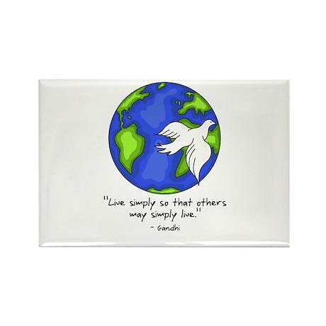 World Gandhi - Live Simply Rectangle Magnet