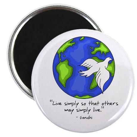 World Gandhi - Live Simply Magnet