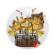 Scarecrow Fall Fowers Ornament (Round)