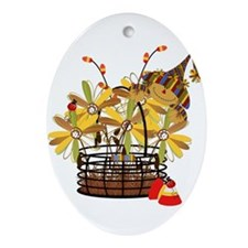 Scarecrow Fall Fowers Oval Ornament